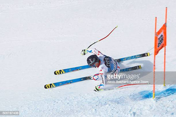 David Poisson of France competes during the Audi FIS Alpine Ski World Cup Men's Downhill on January 16 2016 in Wengen Switzerland