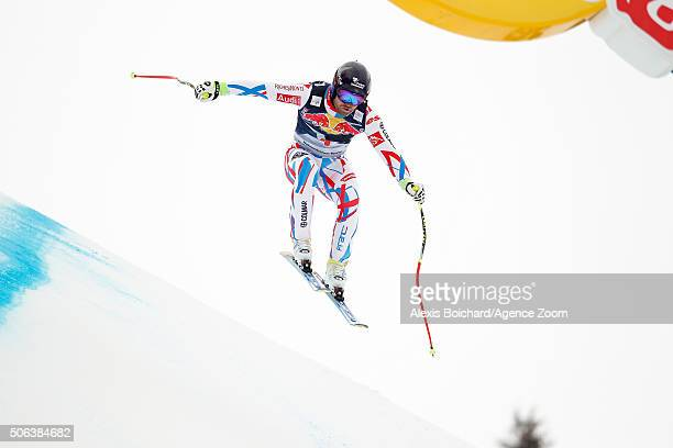 David Poisson of France competes during the Audi FIS Alpine Ski World Cup Men's Downhill on January 23 2016 in Kitzbuehel Austria