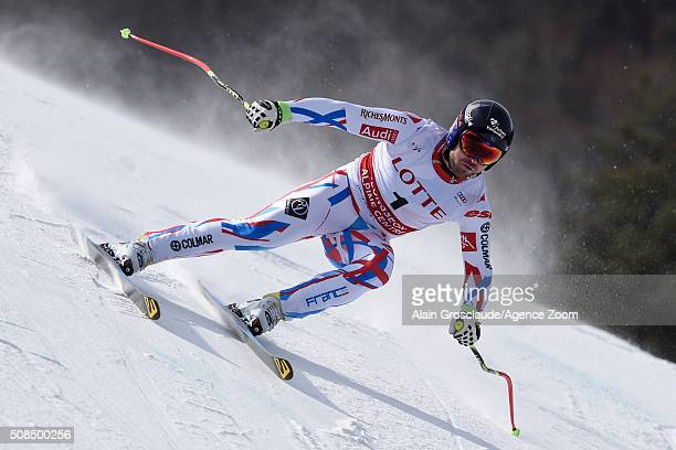 David Poisson of France competes during the Audi FIS Alpine Ski World Cup Men's Downhill Training on February 05 2016 in Jeongseon South Korea