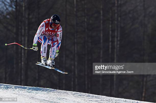 David Poisson of France competes during the Audi FIS Alpine Ski World Cup Men's Downhill on January 06 2016 in Jeongseon South Korea