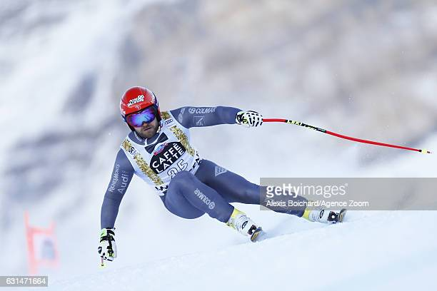 David Poisson of France competes during the Audi FIS Alpine Ski World Cup Men's Downhill Training on January 11 2017 in Wengen Switzerland