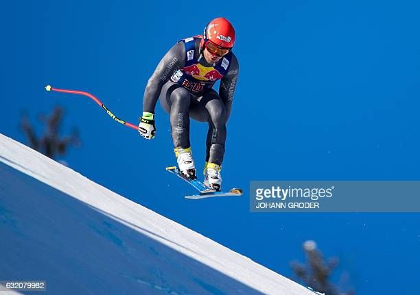David Poisson of France competes during the men's downhill practice the men's second downhill practice of the FIS Ski Alpine World Cup at the...