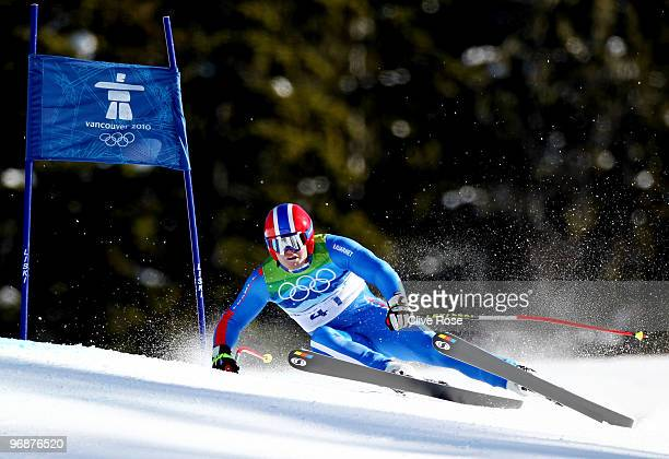 David Poisson of France competes in the men's alpine skiing SuperG on day 8 of the Vancouver 2010 Winter Olympics at Whistler Creekside on February...