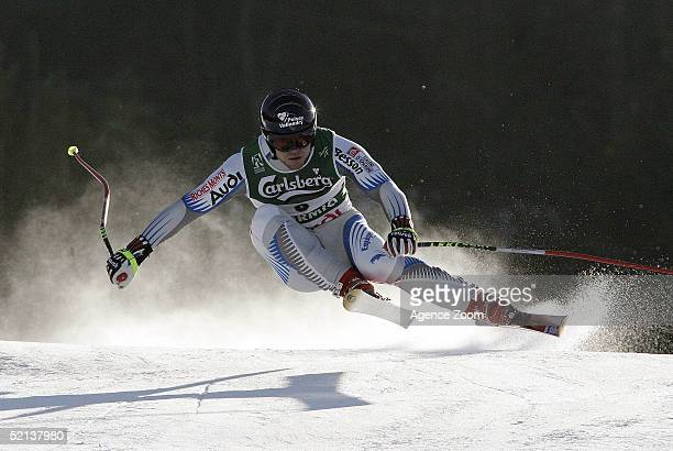 David Poisson of France competes in the Men's Downhill at the FIS Alpine World Ski Championships 2005 on February 5 2005 in Bormio Italy