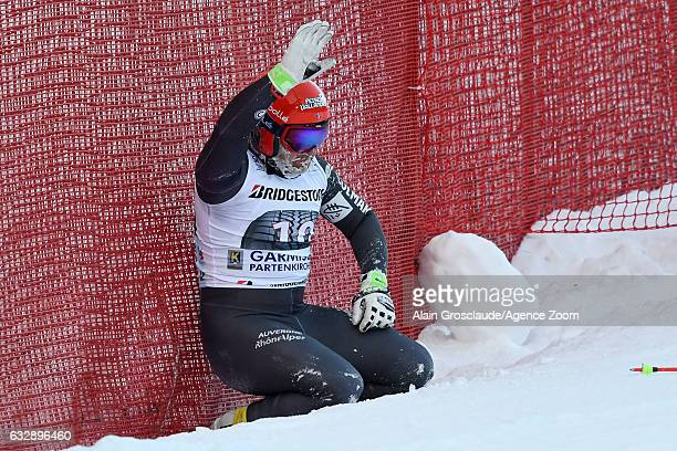 David Poisson of France crashes out during the Audi FIS Alpine Ski World Cup Men's Downhill on January 28 2017 in GarmischPartenkirchen Germany