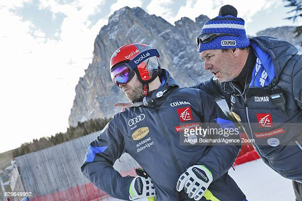 David Poisson of France David Chastan inspects the course during the Audi FIS Alpine Ski World Cup Men's Downhill Training on December 14 2016 in Val...