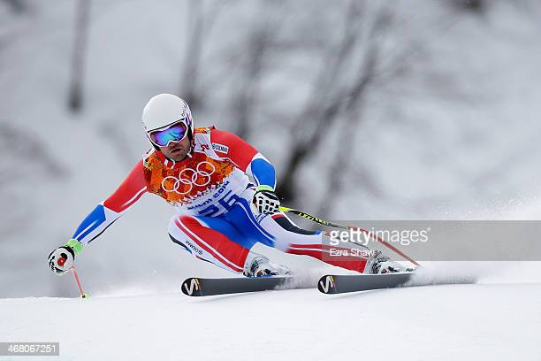 David Poisson of France in action during the Alpine Skiing Men's Downhill on day 2 of the Sochi 2014 Winter Olympics at Rosa Khutor Alpine Center on...
