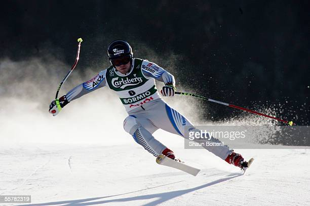 David Poisson of France in action during the Mens Downhill at the FIS Alpine World Ski Championships 2005 on February 5 2005 in Bormio Italy