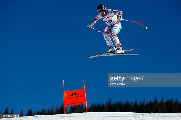 David Poisson of France practices during Men's Downhill training on the Birds of Prey racecourse on Day 5 of the 2015 FIS Alpine World Ski...