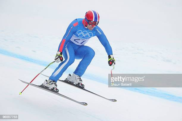 David Poisson of France practices during the Men's Downhill skiing 1st training run ahead of the Vancouver 2010 Winter Olympics on February 10 2010...