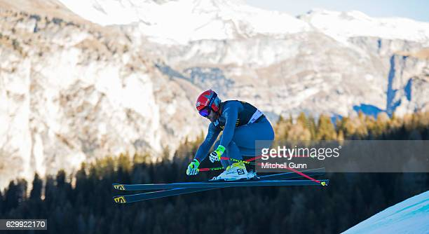 David Poisson of France races down the Saslong course during the Audi FIS Alpine Ski World Cup Men's Downhill training on December 15 2016 at Val...