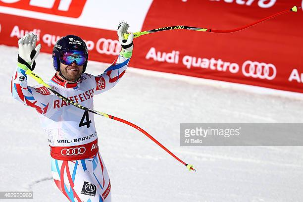 David Poisson of France reacts after crossing the finish of the Men's Downhill in Red Tail Stadium on Day 6 of the 2015 FIS Alpine World Ski...