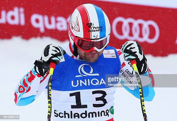 David Poisson of France reacts in the finish area after skiing in the Men's Downhill during the Alpine FIS Ski World Championships on February 9 2013...