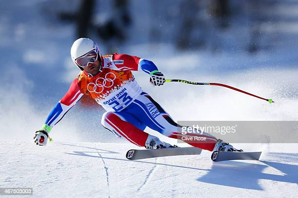 David Poisson of France skis during training for the Alpine Skiing Men's Downhill ahead of the Sochi 2014 Winter Olympics at Rosa Khutor Alpine...