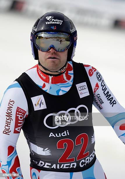 David Poisson of France stands at the finish line after completing a training run for the Audi FIS World Cup on the Birds of Prey on December 3 2014...