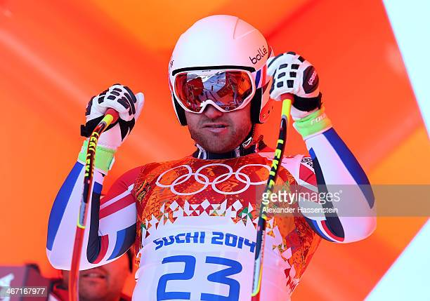 David Poisson of France starts a run during training for the Alpine Skiing Men's Downhill ahead of the Sochi 2014 Winter Olympics at Rosa Khutor...
