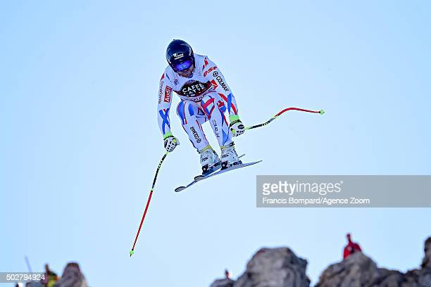 David Poisson of France takes 3rd place during the Audi FIS Alpine Ski World Cup Men's Downhill on December 29 2015 in Santa Caterina Valfurva Italy