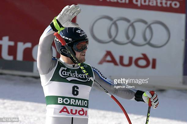 David Poisson of France waves to the crowd during the Men's Downhill at the FIS Alpine World Ski Championships 2005 on February 5 2005 in Bormio Italy