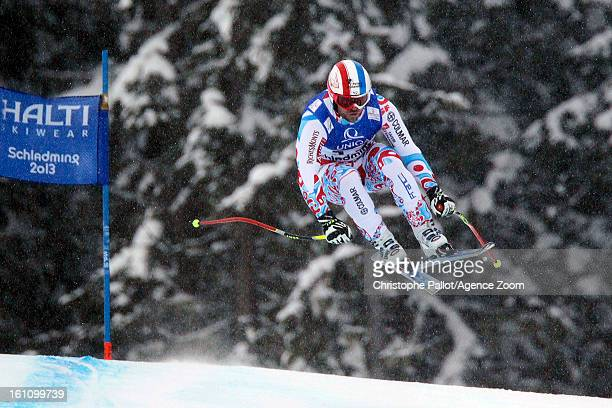 David Poisson of France wins the bronze medal during the Audi FIS Alpine Ski World Championships Men's Downhill on February 09 2013 in Schladming...