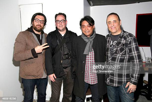 David Pomponio Grant Lamos Butch Vicencio and Mike Pont attend a pet portrait exhibition by Getty Images staff photographer Jamie McCarthy to benefit...