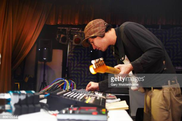 David Portner of Animal Collective performs on stage at Woodhouse Liberal Club on March 25 2009 in Leeds England