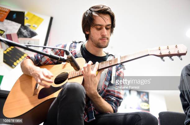 David Potter of Stand Atlantic performs live and signs copies of their new album 'Skinny Dipping' during an in store session at HMV Manchester on...