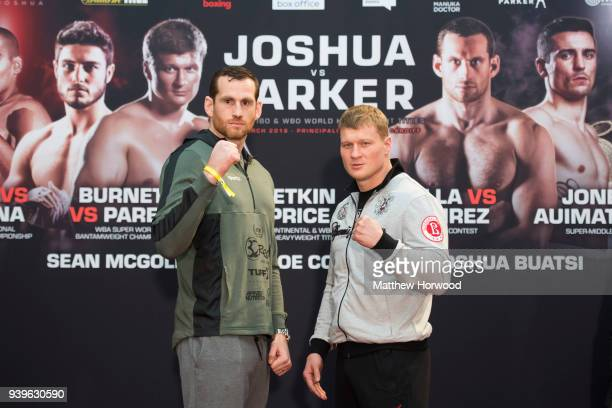 David Price and Alexander Povetkin at the undercard press conference ahead of the Anthony Joshua and Joseph Parker fight on March 29 2018 in Cardiff...