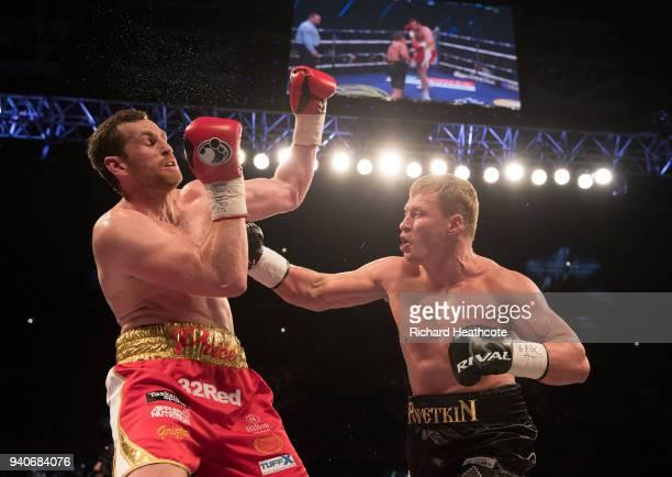 David Price and Alexander Povetkin during thier WBA InterContinental Heavyweight WBO International Heavyweight Championship title fight at...