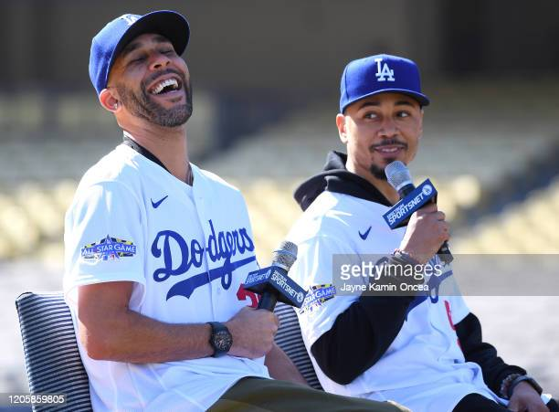 David Price and Mookie Betts of the Los Angeles Dodgers answer questions from the media during an introductory press conference at Dodger Stadium on...