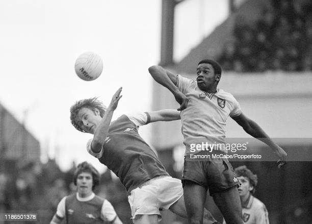 David Price of Arsenal and Justin Fashanu of Norwich City compete in the air during a Football League Division One match at Highbury on April 28 1979...