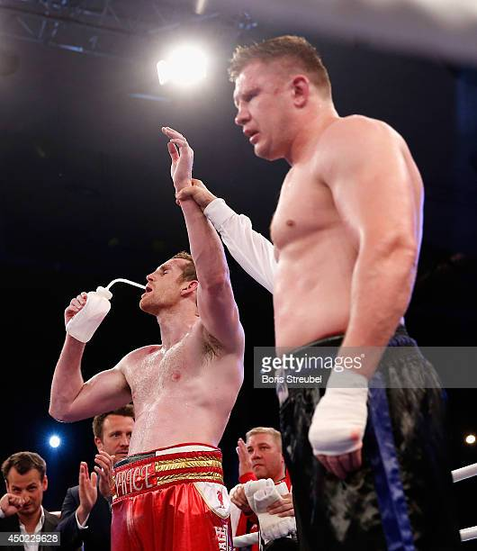 David Price of Great Britain celebrates after his heavyweight fight against Yaroslav Zavorotnyi of Ukraine at Sport und Kongresshalle on June 7 2014...