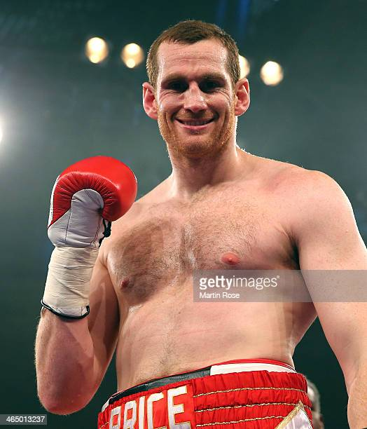 David Price of Great Britain celebrates after winning the heavy weight fight over Istvan Ruzsinszky of Hungary at HansMartinSchleier on January 25...
