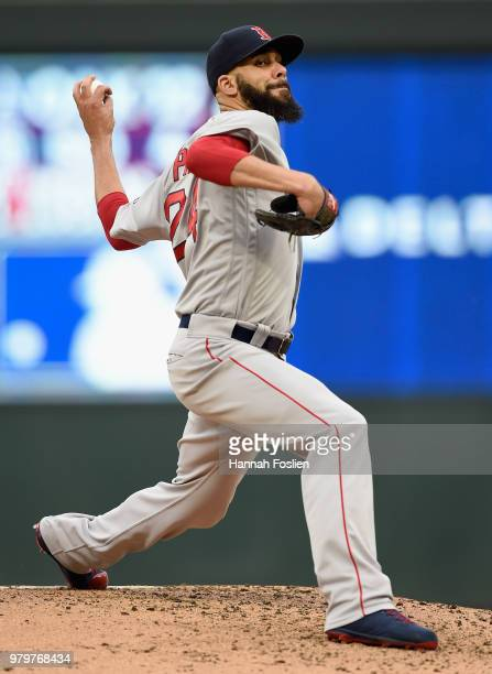 David Price of the Boston Red Sox delivers a pitch against the Minnesota Twins during the first inning of the game on June 20 2018 at Target Field in...