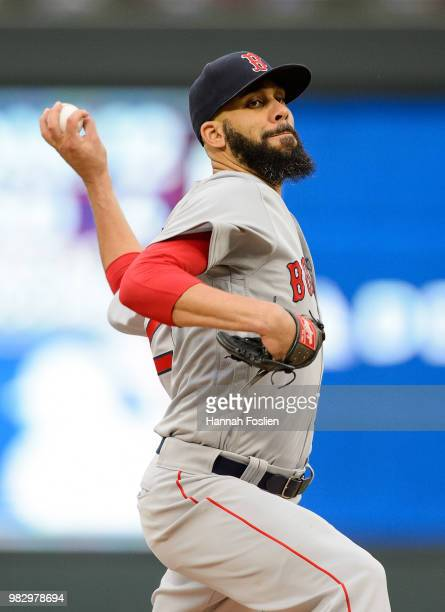 David Price of the Boston Red Sox delivers a pitch against the Minnesota Twins during the game on June 20 2018 at Target Field in Minneapolis...
