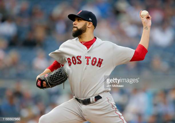 David Price of the Boston Red Sox delivers a pitch during the first inning against the New York Yankees at Yankee Stadium on June 02 2019 in New York...