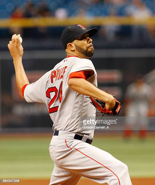 David Price of the Boston Red Sox delivers a pitch during the first inning their game against the Tampa Bay Rays at Tropicana Field on August 22 2016...