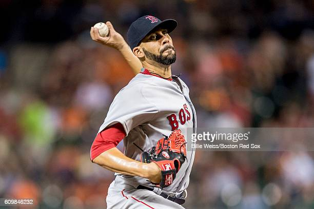 David Price of the Boston Red Sox delivers during the third inning of a game against the Baltimore Orioles on September 22 2016 at Oriole Park at...