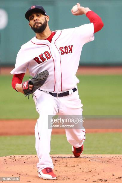 David Price of the Boston Red Sox delivers in the first inning of a game against the Minnesota Twins at Fenway Park on June 29 2017 in Boston...