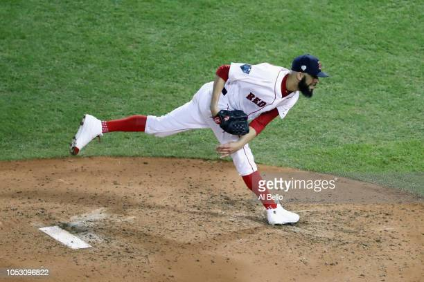 David Price of the Boston Red Sox delivers the pitch during the fifth inning against the Los Angeles Dodgers in Game Two of the 2018 World Series at...