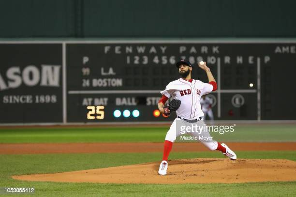 David Price of the Boston Red Sox delivers the pitch during the first inning against the Los Angeles Dodgers in Game Two of the 2018 World Series at...