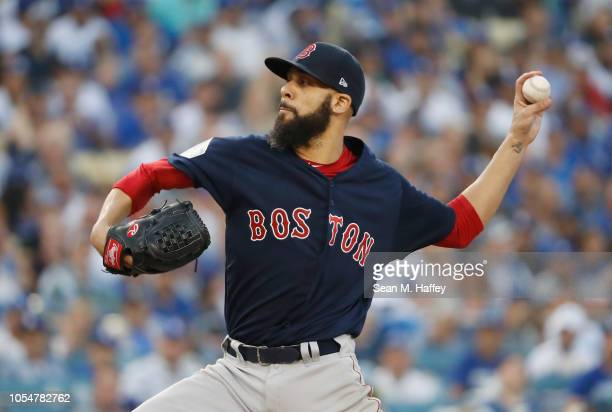 David Price of the Boston Red Sox delivers the pitch during the first inning against the Los Angeles Dodgers in Game Five of the 2018 World Series at...