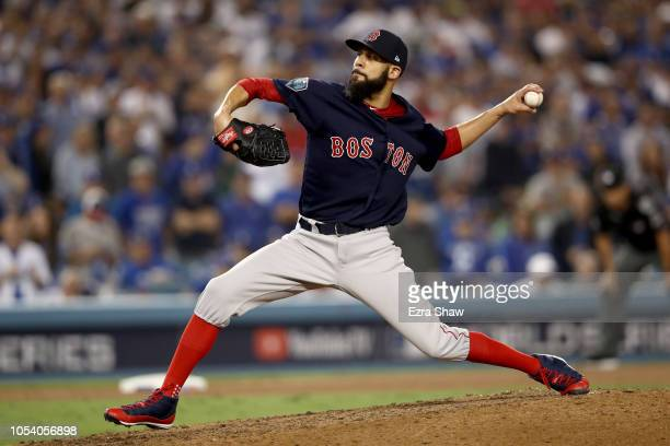 David Price of the Boston Red Sox delivers the pitch during the ninth inning against the Los Angeles Dodgers in Game Three of the 2018 World Series...