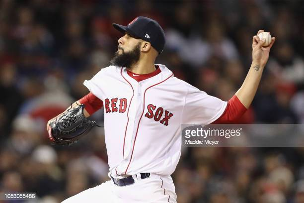David Price of the Boston Red Sox delivers the pitch during the second inning against the Los Angeles Dodgers in Game Two of the 2018 World Series at...