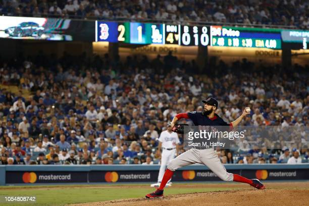 David Price of the Boston Red Sox delivers the pitch during the fourth inning aLos Angeles Dodgers in Game Five of the 2018 World Series at Dodger...