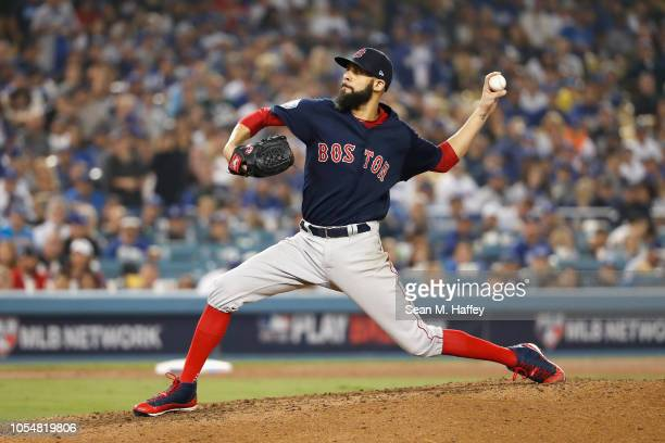 David Price of the Boston Red Sox delivers the pitch during the eighth inning against the Los Angeles Dodgers in Game Five of the 2018 World Series...