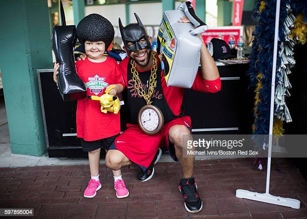 David Price of the Boston Red Sox dresses up with Jimmy Fund patient Layla Flint before entering a photo booth during the Red Sox 15th Annual...