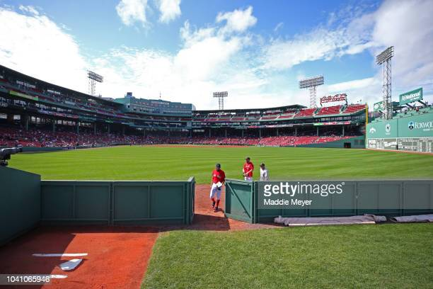 David Price of the Boston Red Sox enters the bullpen to warm up before the game against the Baltimore Orioles at Fenway Park on September 26, 2018 in...