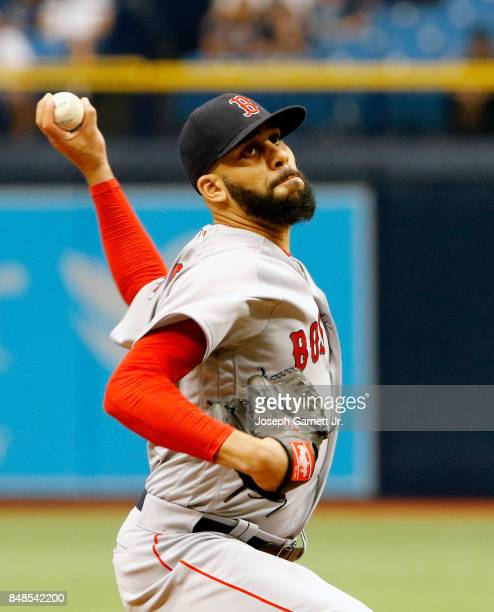 David Price of the Boston Red Sox gets in a little work during the eighth inning of the game against the Tampa Bay Rays at Tropicana Field on...