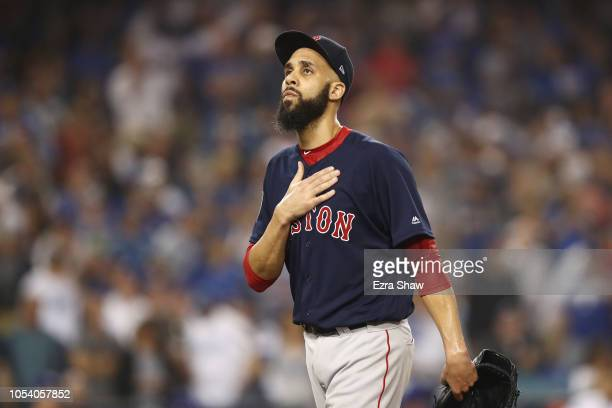 David Price of the Boston Red Sox is taken out of the game during the ninth inning against the Los Angeles Dodgers in Game Three of the 2018 World...