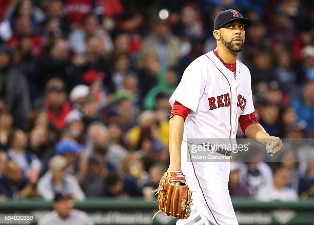 David Price of the Boston Red Sox looks on after giving up a home run to Charlie Blackmon of the Colorado Rockies in the third inning at Fenway Park...
